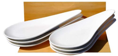 White Medium sized Tear Drop dish x 6 ceramic dishes - GOTO